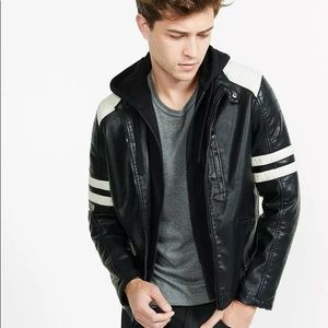 Express faux leather racing jacket biker hooded L